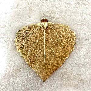 Jewelry - ⭐️4 for $15 24k Gold Dipped Real Leaf Pendant
